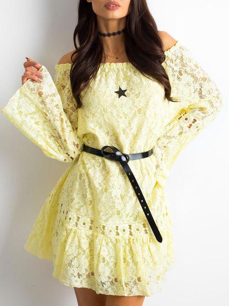Żółta sukienka z hiszpańskim dekoltem                              zdj.                              3