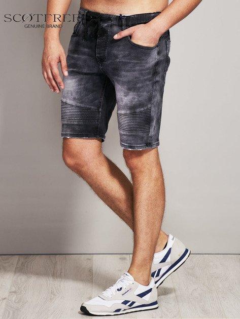 SCOTFREE Czarne jeansowe szorty męskie                              zdj.                              2