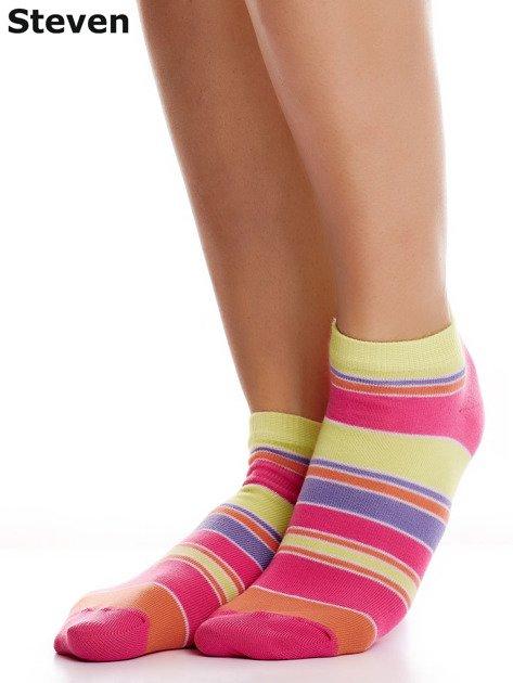 STEVEN Bawełniane stopki żółto-różowe z nadrukiem pasków                              zdj.                              1