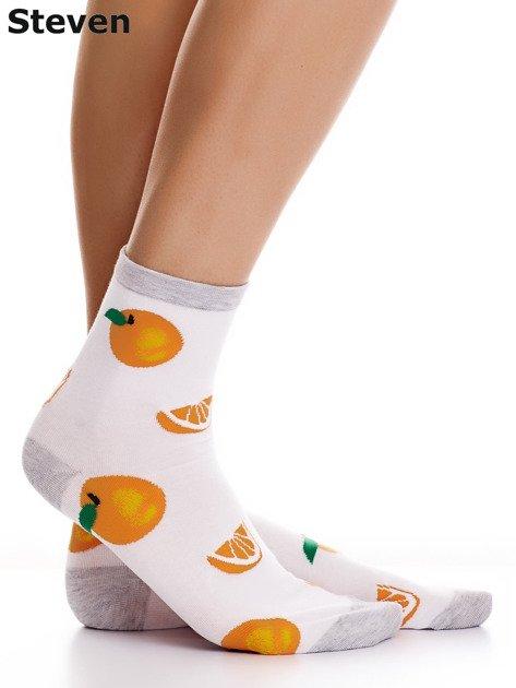 STEVEN Białe skarpety bawełniane we wzór pomarańczy                              zdj.                              1