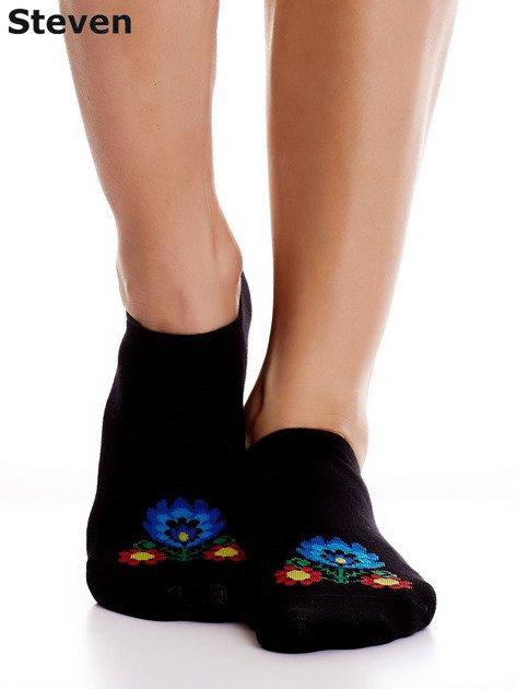 STEVEN Czarne bawełniane stopki z folkowym motywem                                  zdj.                                  1
