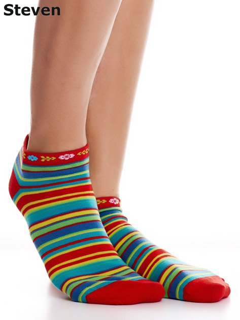 STEVEN Czerwone skarpety bawełniane stopki we wzór pasków                              zdj.                              2