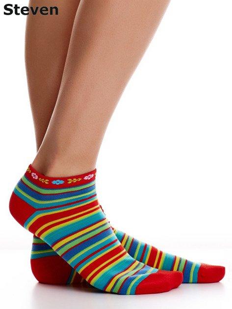 STEVEN Czerwone skarpety bawełniane stopki we wzór pasków                              zdj.                              1