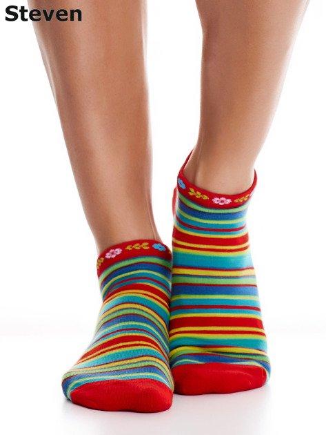 STEVEN Czerwone skarpety bawełniane stopki we wzór pasków                              zdj.                              5