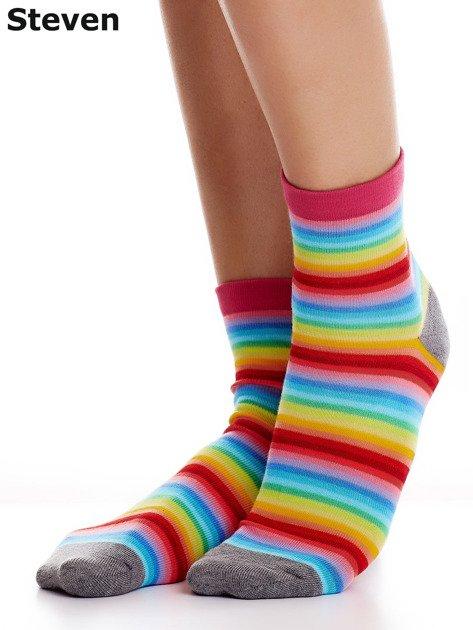 STEVEN Kolorowe bawełniane skarpety w paski                              zdj.                              1