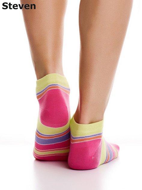 STEVEN Żółto-różowe bawełniane stopki w paski                              zdj.                              5