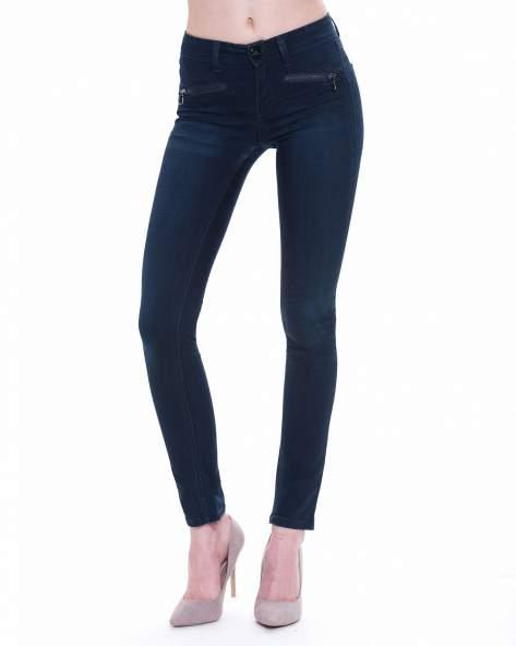 STRADIVARIUS Ciemnoniebieskie spodnie typu skinny jeans z efektem dekatyzowania                                  zdj.                                  1