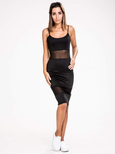 STRADIVARIUS Czarna sukienka z transparentnymi modułami                                  zdj.                                  1