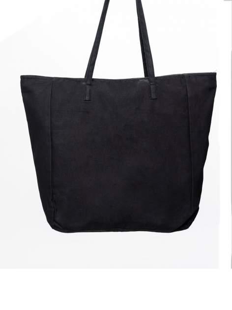 STRADIVARIUS Czarna torebka shopper bag z nadrukiem kota                                  zdj.                                  4