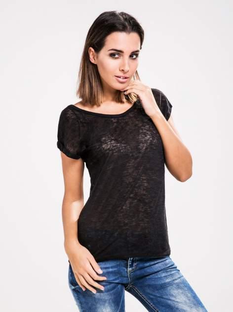 STRADIVARIUS Czarny półtransparentny t-shirt z podwijanymi rękawkami