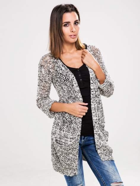 STRADIVARIUS Szary sweter kardigan z kieszeniami