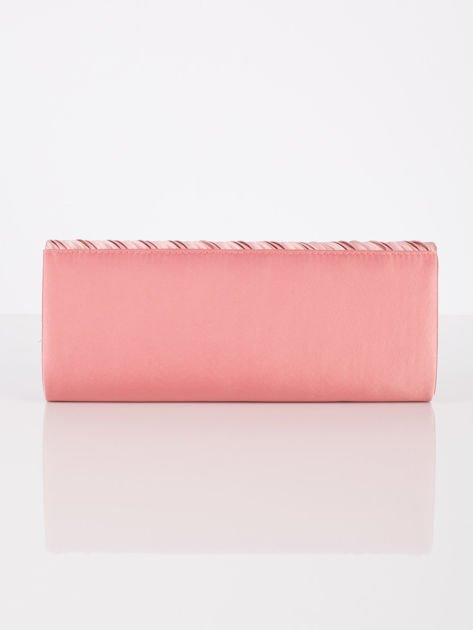 Satynowa elegancka kopertówka z dżetami różowa                              zdj.                              3