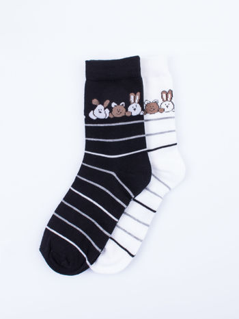Skarpetki damskie czarny-biały zwierzątka zestaw 2 pary                                  zdj.                                  1