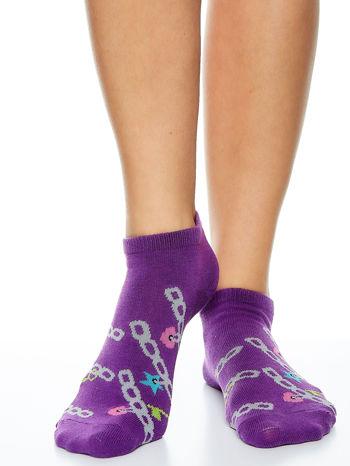 Skarpetki damskie stopki fiolet-biały dziewczęce zestaw 2 pary                                  zdj.                                  2