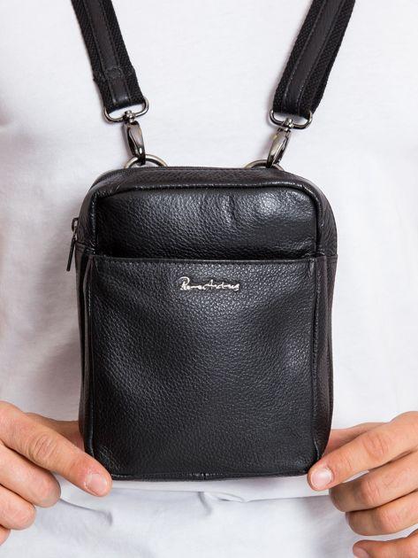 Skórzana torba męska z klapką czarna                              zdj.                              1