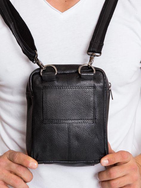 Skórzana torba męska z klapką czarna                              zdj.                              3