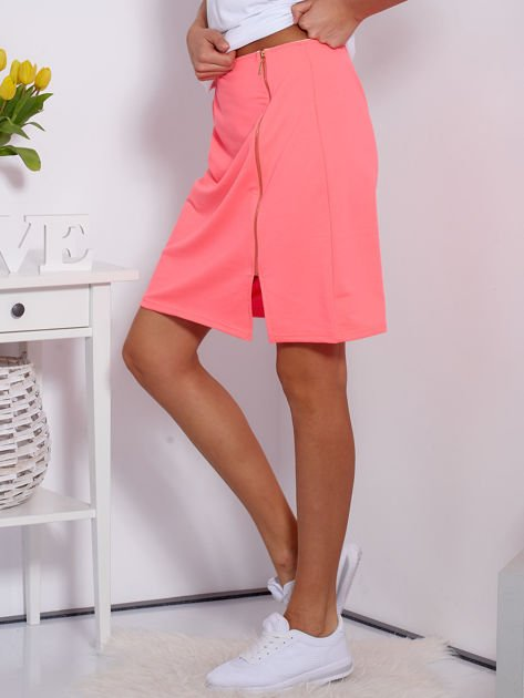 Spódnica dresowa fluo różowa z suwakiem                              zdj.                              5