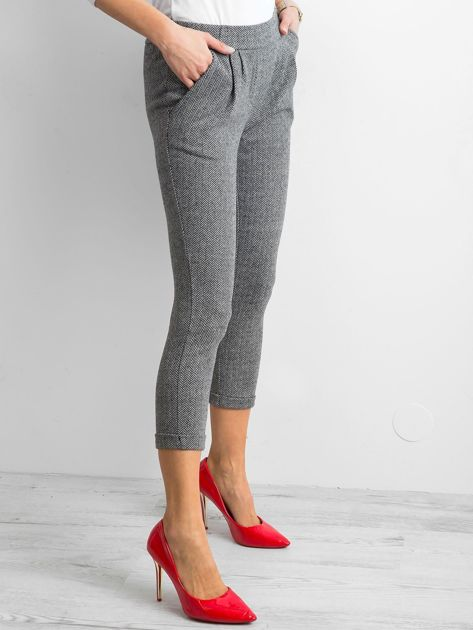 Spodnie damskie w jodełkę szare                               zdj.                              3