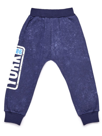 Spodnie dresowe chłopięce granatowe z napisem YORK 1986