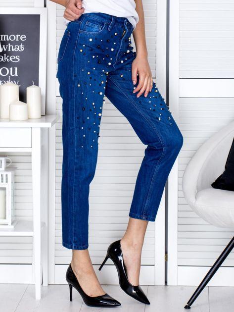 Spodnie jeansowe ciemnoniebieskie z perełkami                                  zdj.                                  5