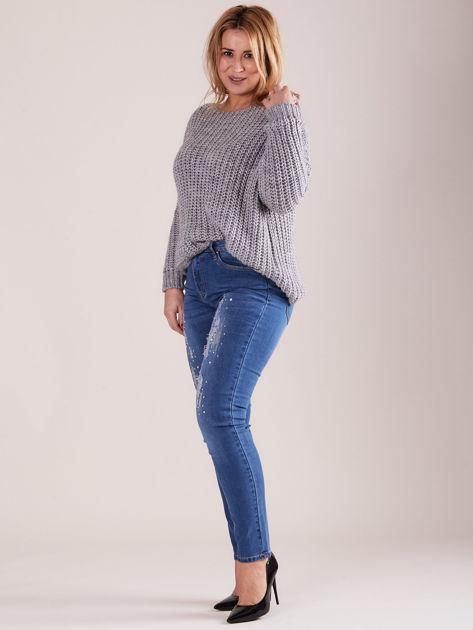Spodnie jeansowe niebieskie z dżetami PLUS SIZE                              zdj.                              5