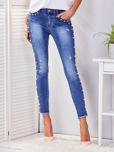 Spodnie jeansowe niebieskie z perełkami                              zdj.                              1