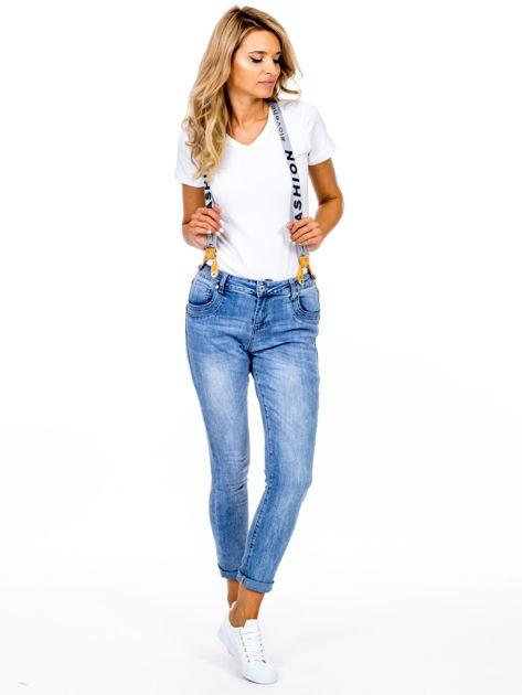 Spodnie jeansowe niebieskie z szelkami                              zdj.                              1