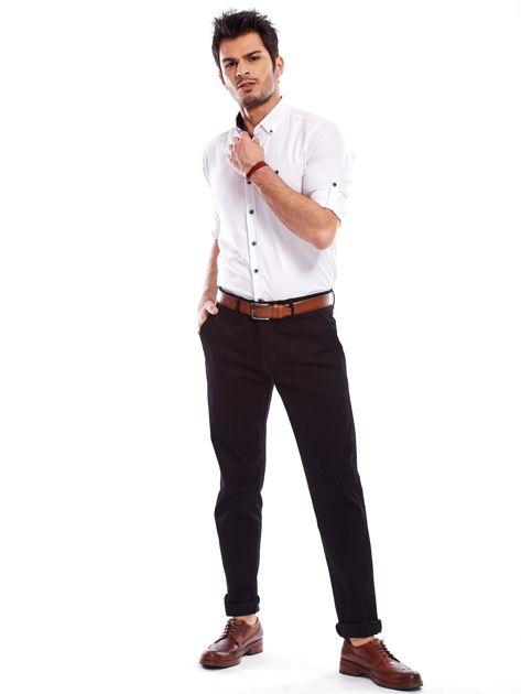 Spodnie męskie czarne o prostym kroju                              zdj.                              4