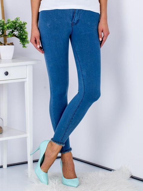 Spodnie rurki high waist ze stretchem niebieskie                              zdj.                              1