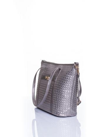 Srebrna pleciona torba shopper bag ze złotym detalem                                  zdj.                                  4