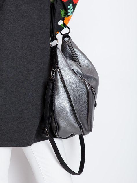 Srebrna torba z suwakami                              zdj.                              3