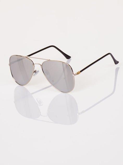 Srebrne AVIATORY okulary przeciwsłoneczne pilotki lustrzanki