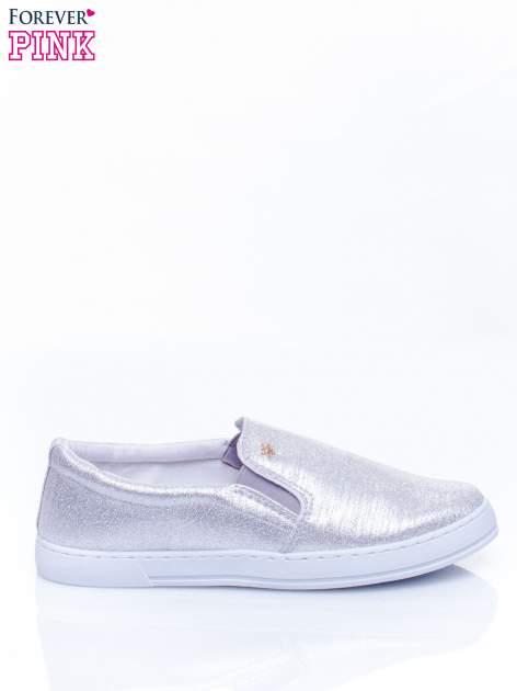 Srebrne buty sliponki glitter                                  zdj.                                  2