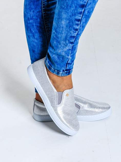 Srebrne buty sliponki glitter                                  zdj.                                  1