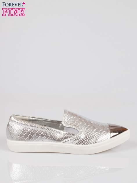 Srebrne wężowe buty slippers gold cap toe                                  zdj.                                  1
