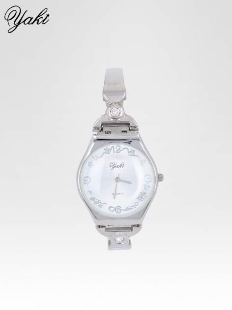 Srebrny biżuteryjny zegarek damski z białą tarczą
