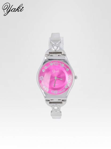 Srebrny biżuteryjny zegarek damski z różową tarczą                                  zdj.                                  1