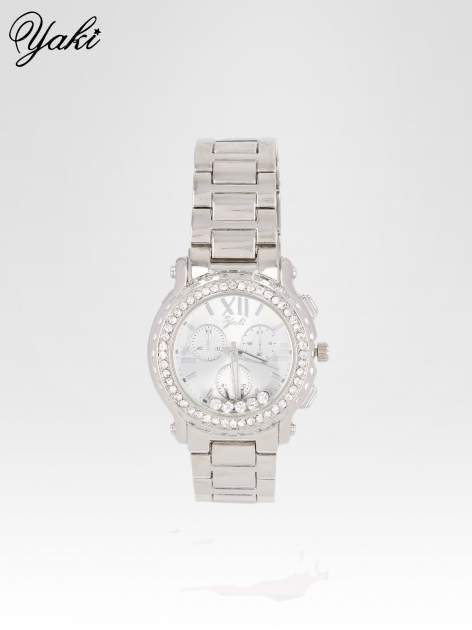 Srebrny zegarek damski na bransolecie z cyrkoniami na kopercie
