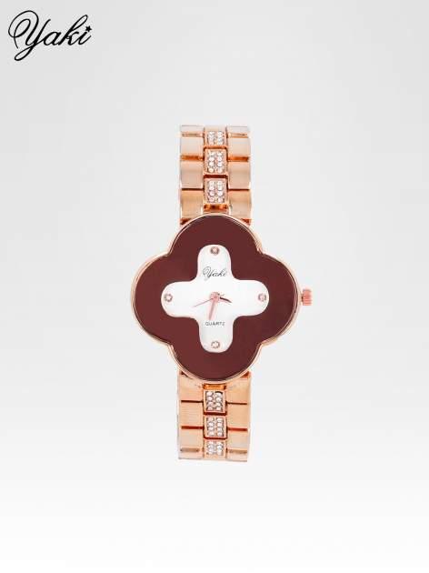 Srebrny zegarek damski na bransolecie z czerwoną tarczą koniczyną