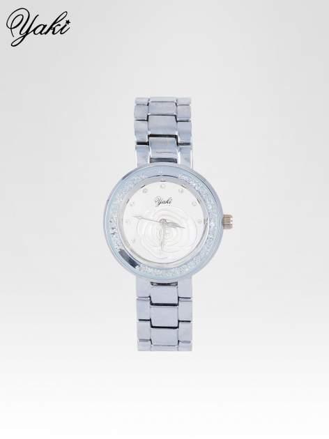 Srebrny zegarek damski na bransolecie z różą na tarczy                                  zdj.                                  1