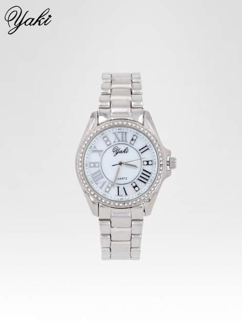 Srebrny zegarek damski z cyrkoniami boyfriend watch                                  zdj.                                  1