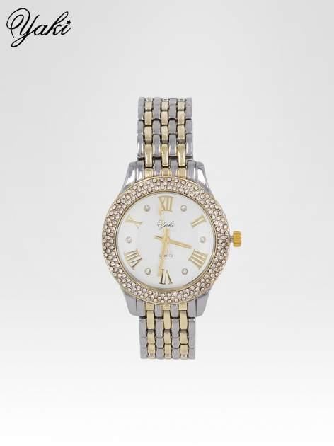 Srebrny zegarek na bransolecie z cyrkoniami wokół koperty                                  zdj.                                  1