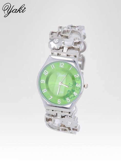 Srebrny zegarek na brasolecie z motywem kwiatowym                                  zdj.                                  2