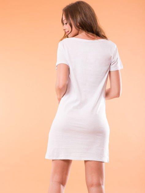 Sukienka bawełniana biała z nadrukiem parasola                                  zdj.                                  3