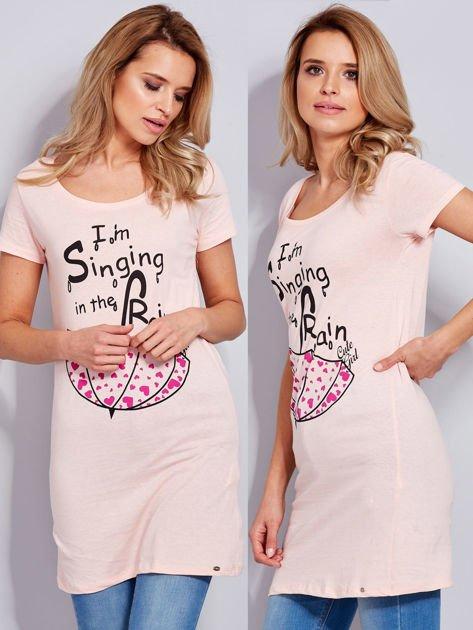 Sukienka bawełniana brzoskwiniowa z nadrukiem parasola                              zdj.                              1
