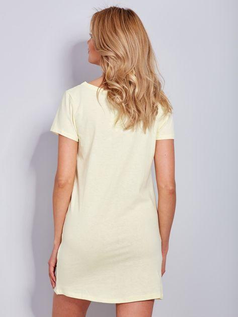 Sukienka bawełniana jasnożółta z nadrukiem parasola                              zdj.                              3