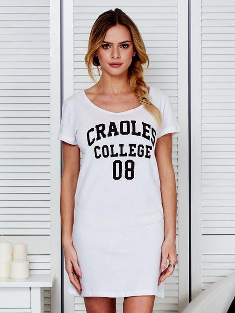 Sukienka biała bawełniana z napisem COLLEGE                                  zdj.                                  1