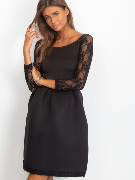 Sukienka czarna z koronkowymi rękawami                              zdj.                              1