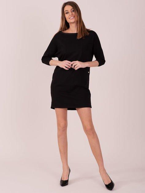 Sukienka czarna z ozdobną lamówką                              zdj.                              4