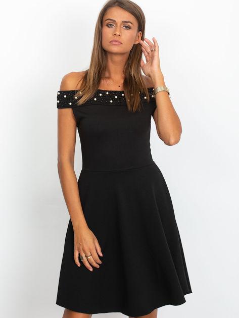 Sukienka czarna z perełkami                              zdj.                              5
